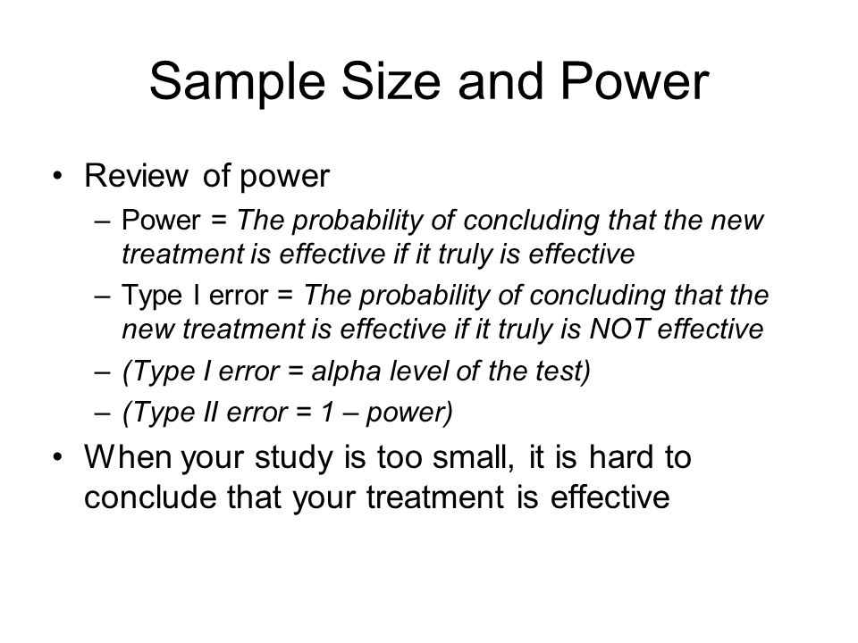 Sample Size and Power Review of power