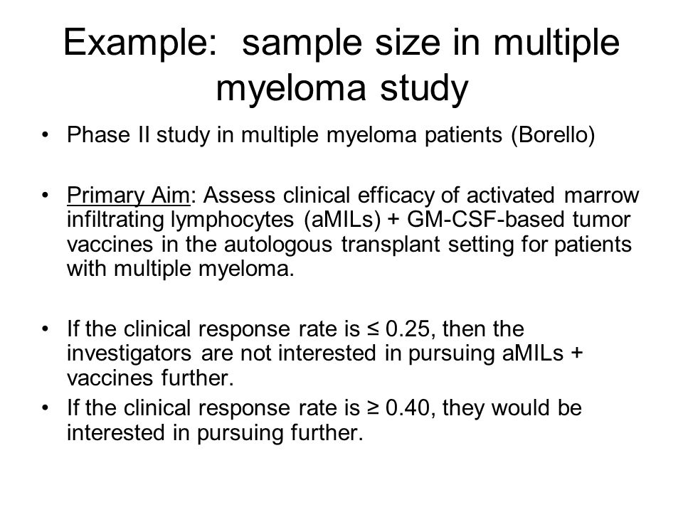 Example: sample size in multiple myeloma study