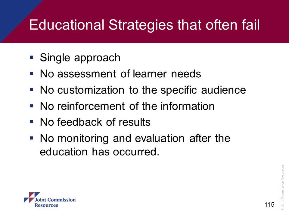 Educational Strategies that often fail