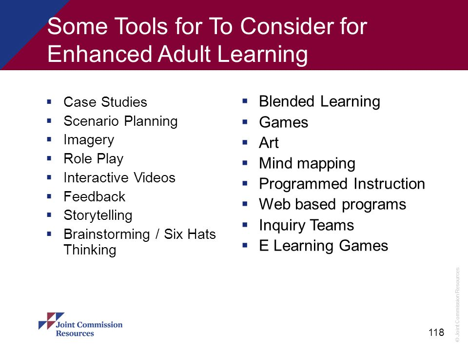 Some Tools for To Consider for Enhanced Adult Learning