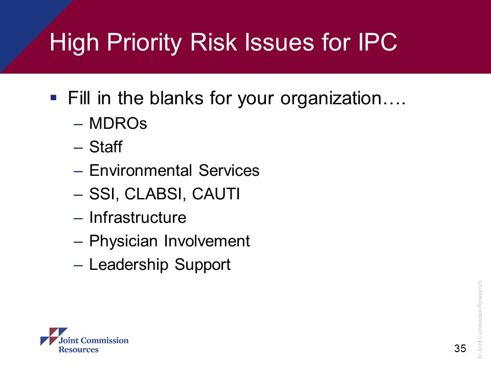 High Priority Risk Issues for IPC