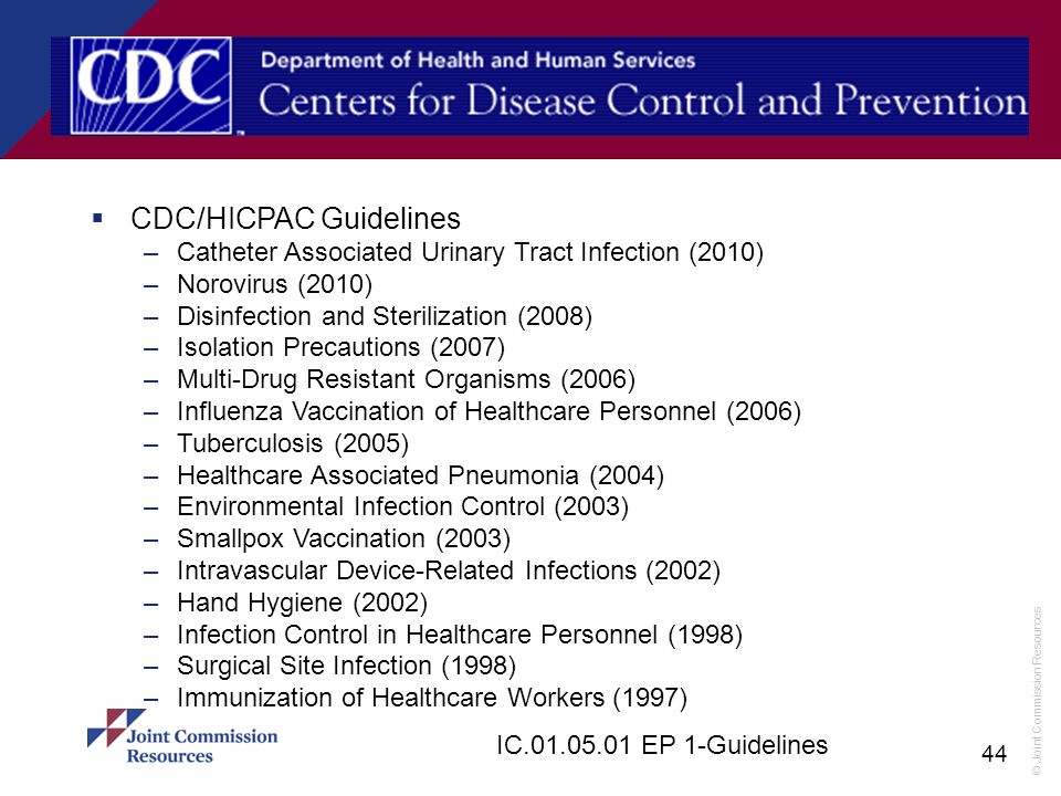CDC/HICPAC Guidelines