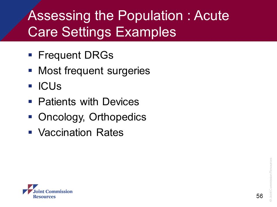 Assessing the Population : Acute Care Settings Examples