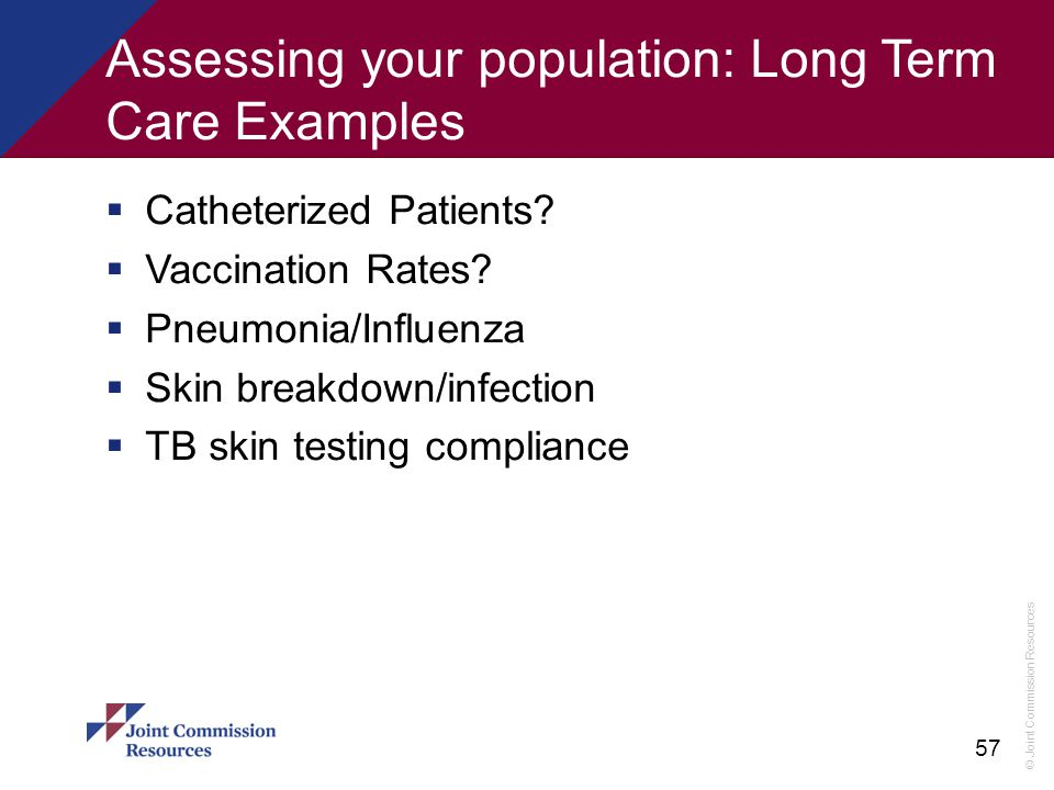 Assessing your population: Long Term Care Examples