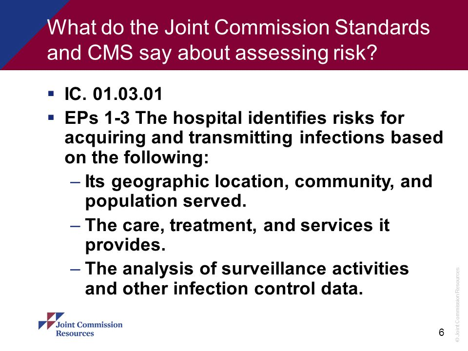 What do the Joint Commission Standards and CMS say about assessing risk