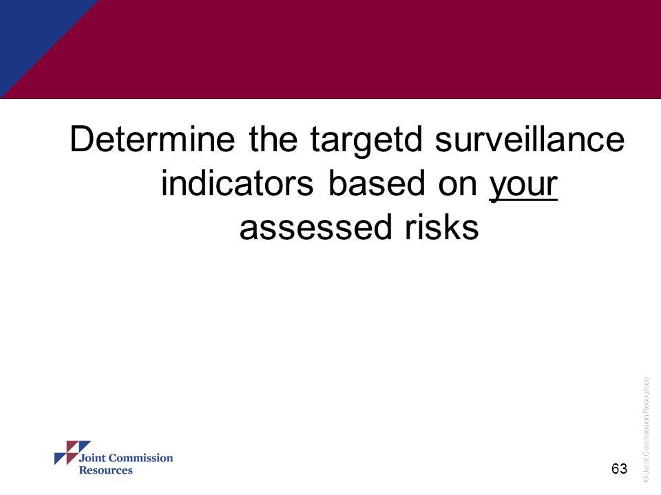 Determine the targetd surveillance indicators based on your assessed risks