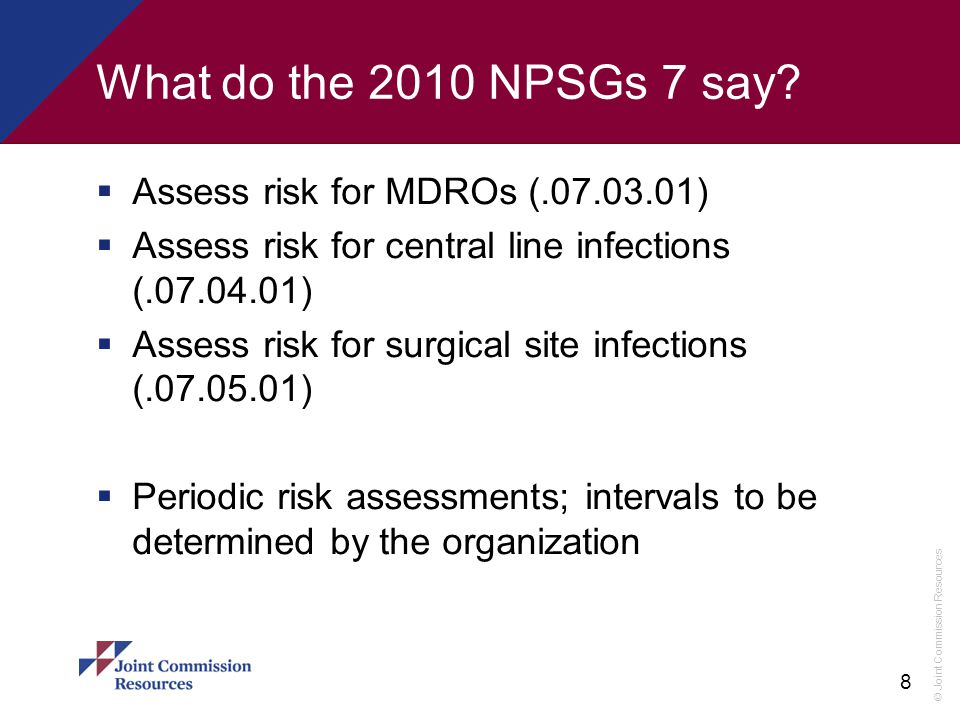 What do the 2010 NPSGs 7 say Assess risk for MDROs (.07.03.01)