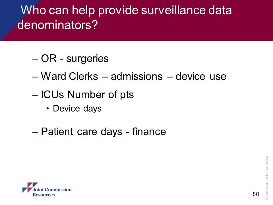 Who can help provide surveillance data denominators