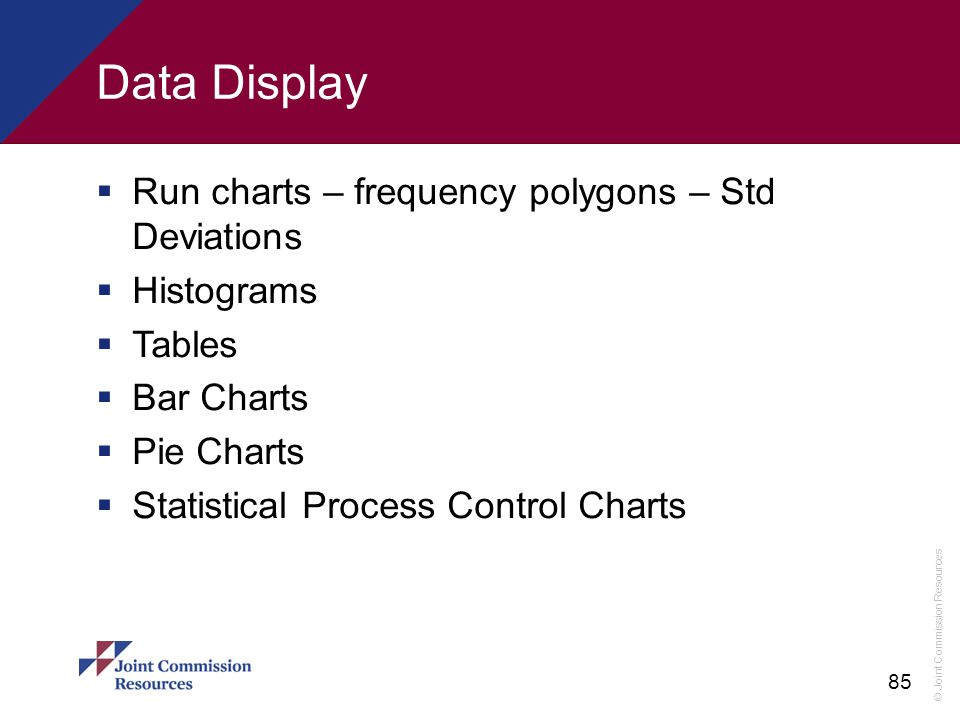 Data Display Run charts – frequency polygons – Std Deviations