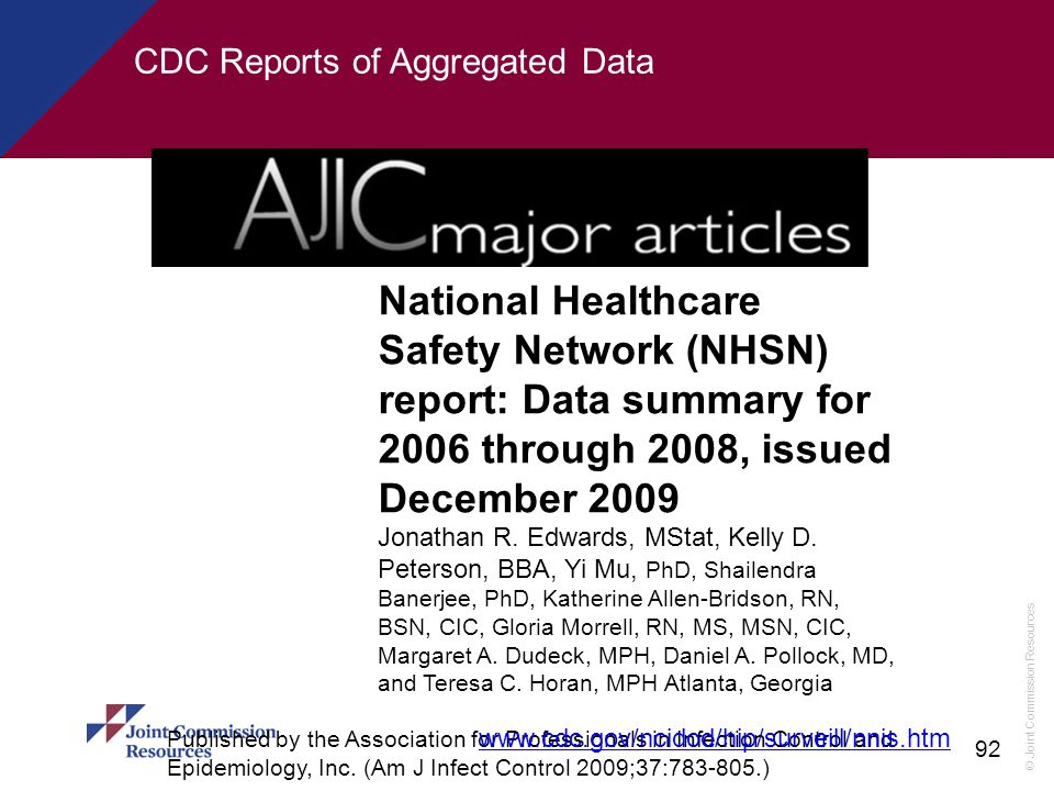 CDC Reports of Aggregated Data