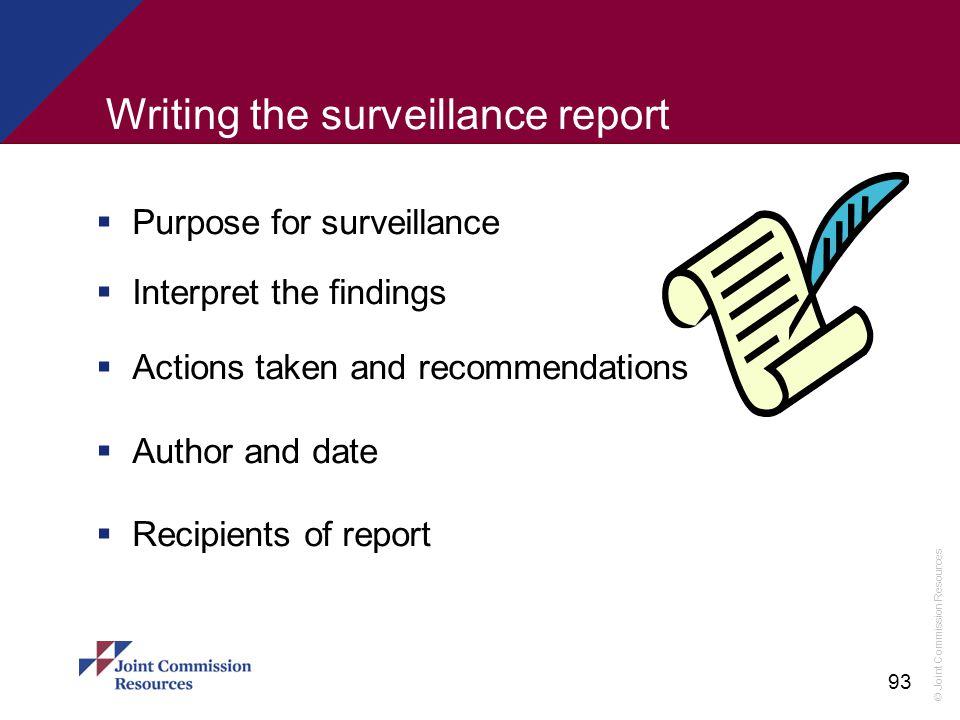 Writing the surveillance report