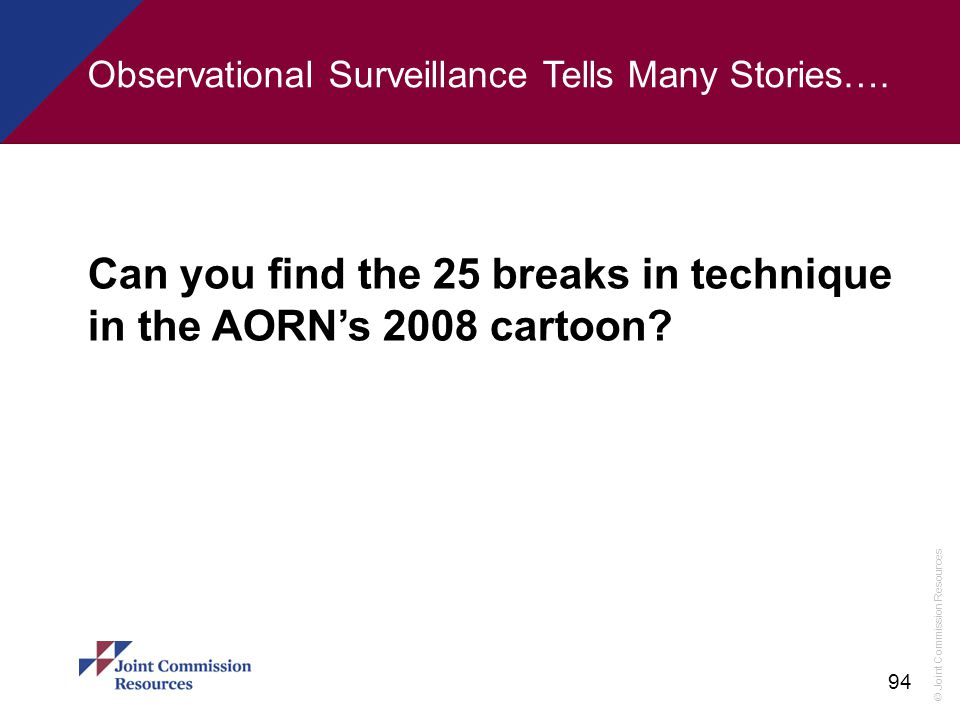 Can you find the 25 breaks in technique in the AORN's 2008 cartoon
