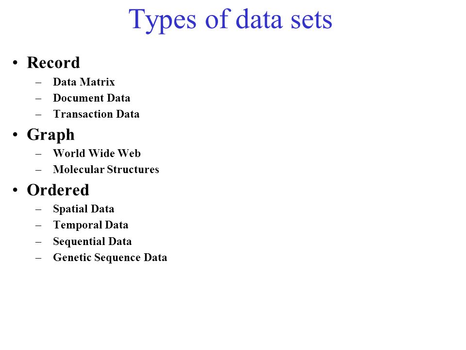 Types of data sets Record Graph Ordered Data Matrix Document Data