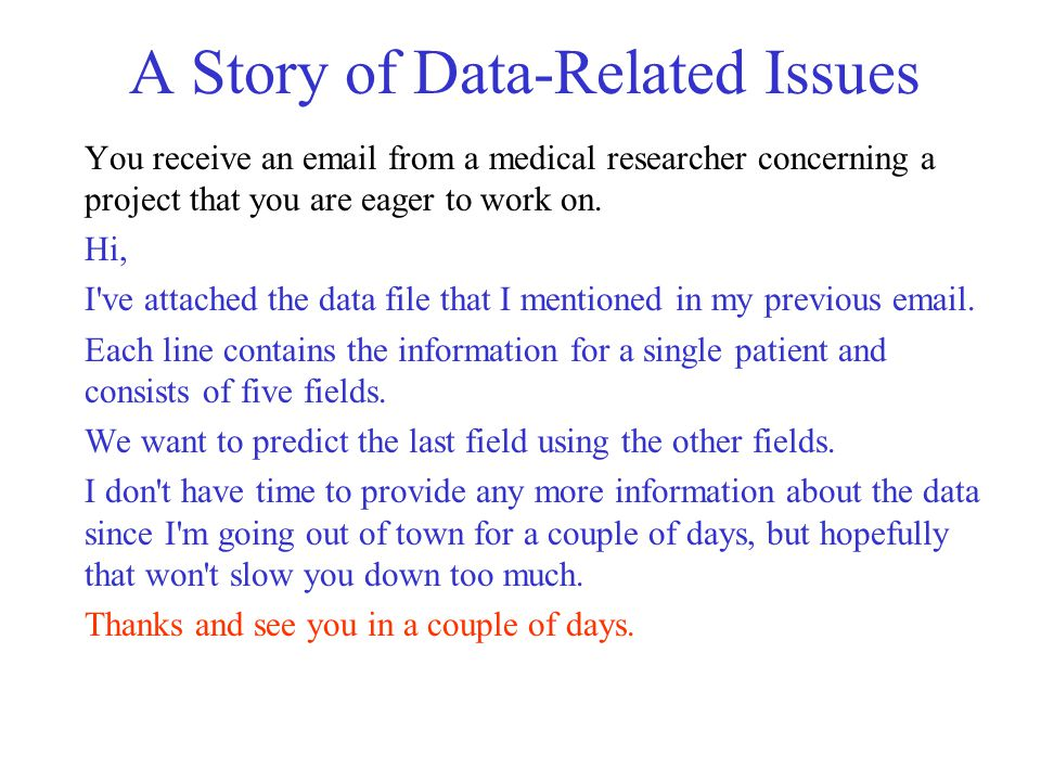 A Story of Data-Related Issues