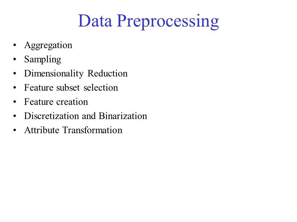 Data Preprocessing Aggregation Sampling Dimensionality Reduction