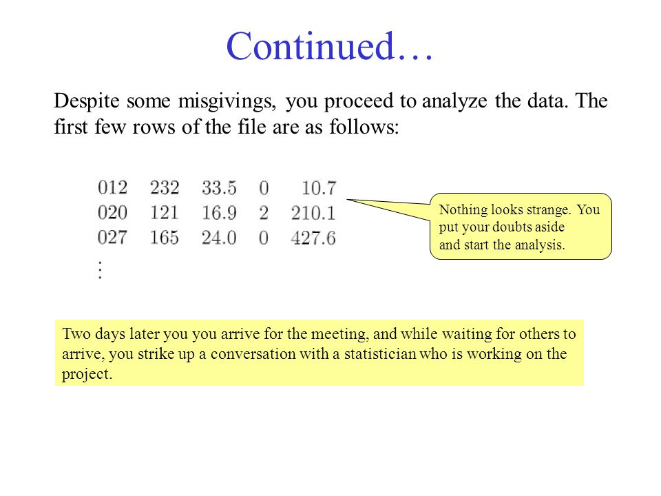 Continued… Despite some misgivings, you proceed to analyze the data. The first few rows of the file are as follows: