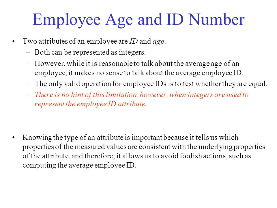 Employee Age and ID Number
