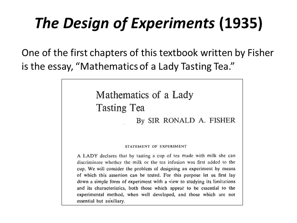 The Design of Experiments (1935)