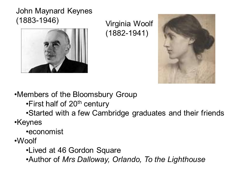 John Maynard Keynes (1883-1946) Virginia Woolf. (1882-1941) Members of the Bloomsbury Group. First half of 20th century.