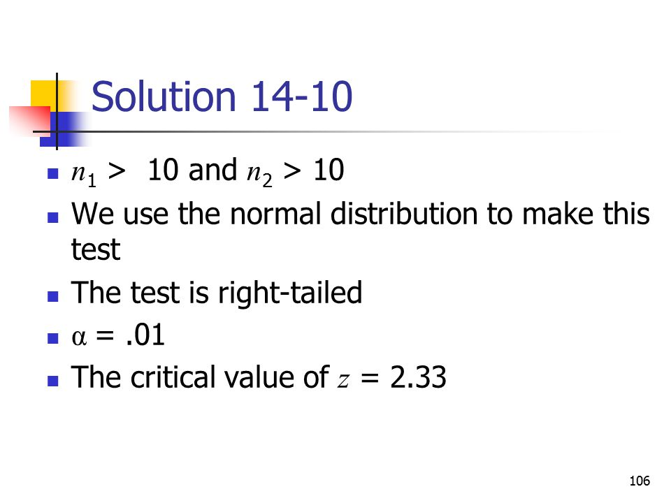 Solution 14-10 n1 > 10 and n2 > 10