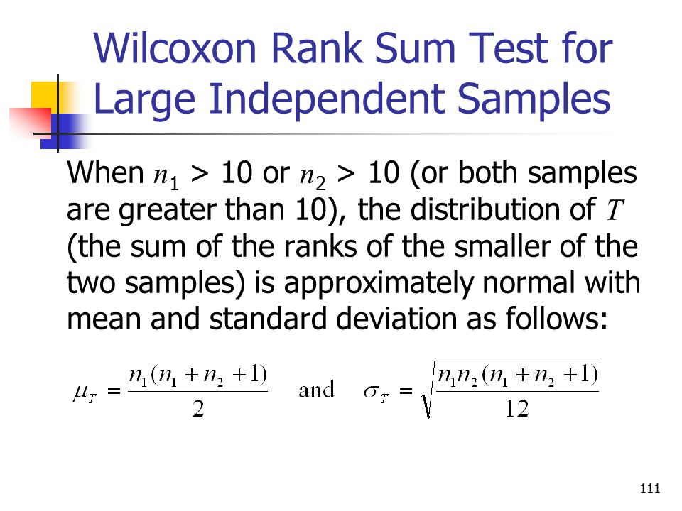 Wilcoxon Rank Sum Test for Large Independent Samples