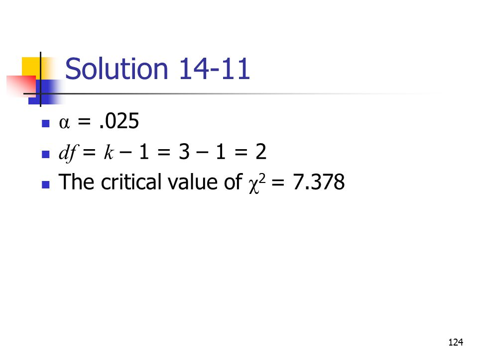 Solution 14-11 α = .025 df = k – 1 = 3 – 1 = 2 The critical value of χ2 = 7.378