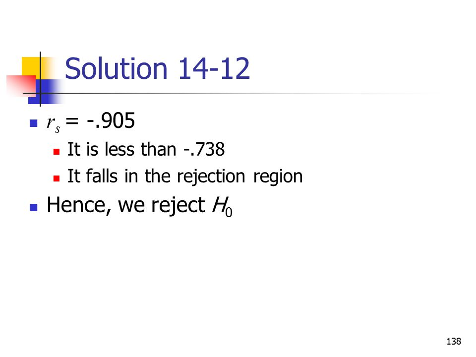 Solution 14-12 rs = -.905 Hence, we reject H0 It is less than -.738