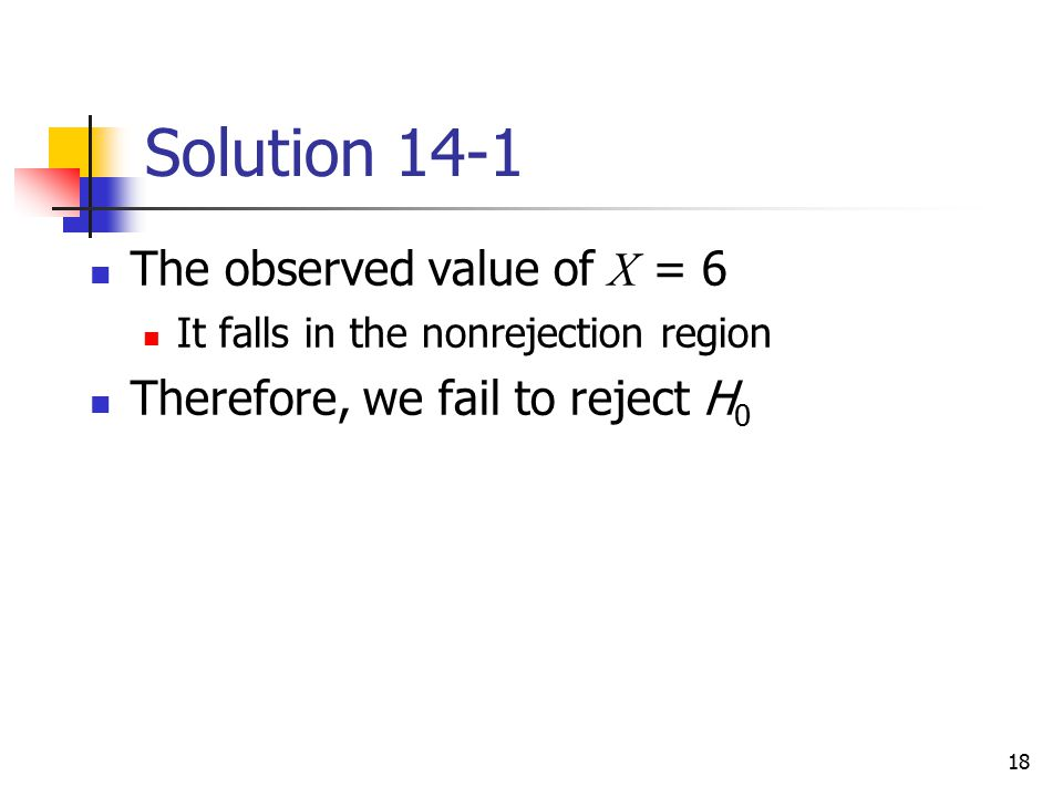 Solution 14-1 The observed value of X = 6