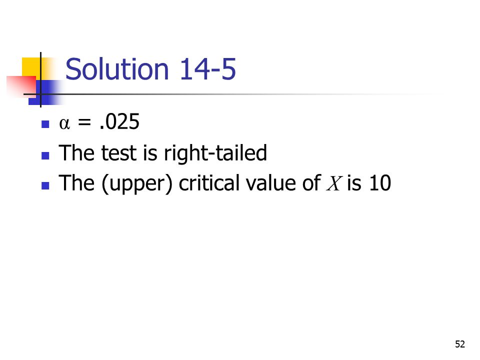 Solution 14-5 α = .025 The test is right-tailed
