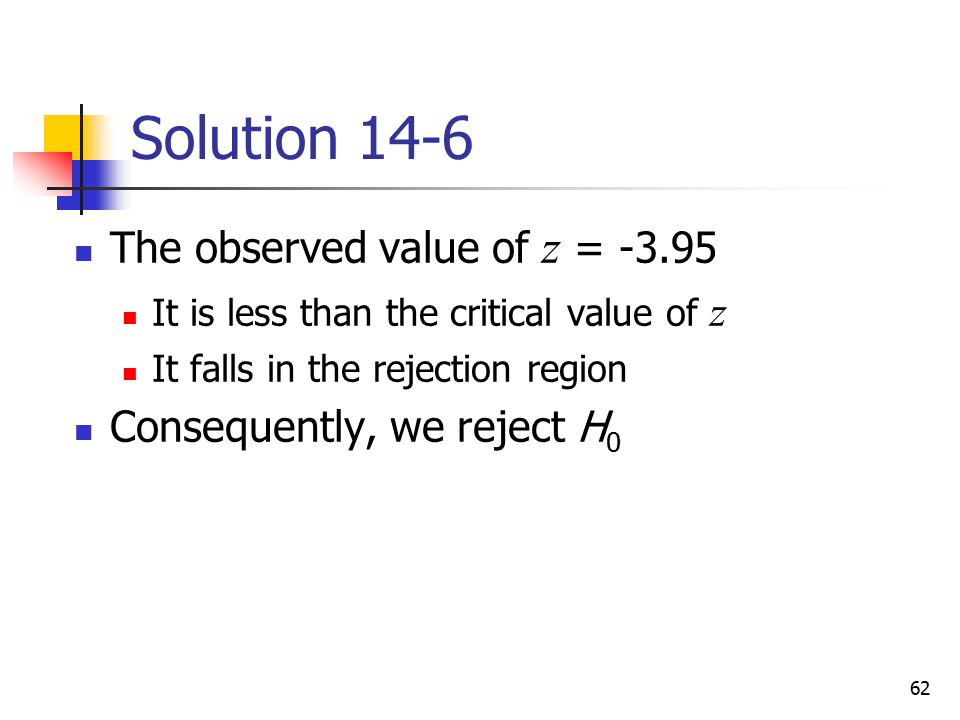 Solution 14-6 The observed value of z = -3.95