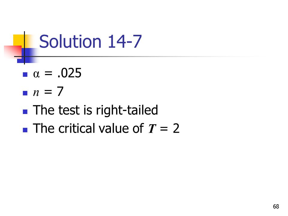 Solution 14-7 α = .025 n = 7 The test is right-tailed