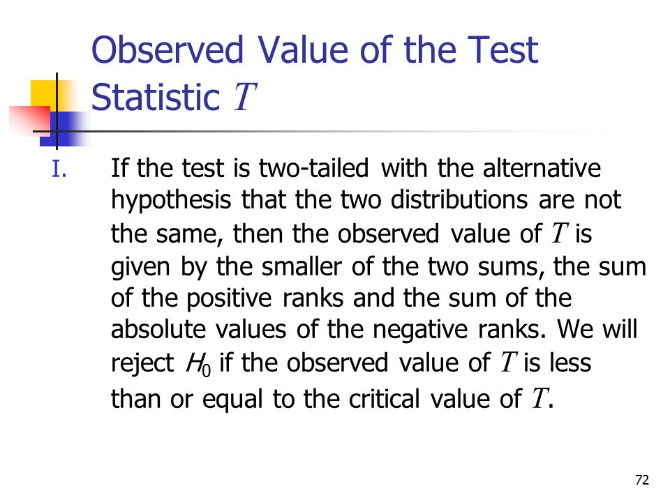 Observed Value of the Test Statistic T