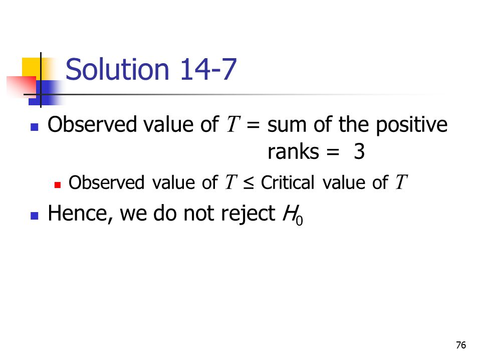 Solution 14-7 Observed value of T = sum of the positive ranks = 3