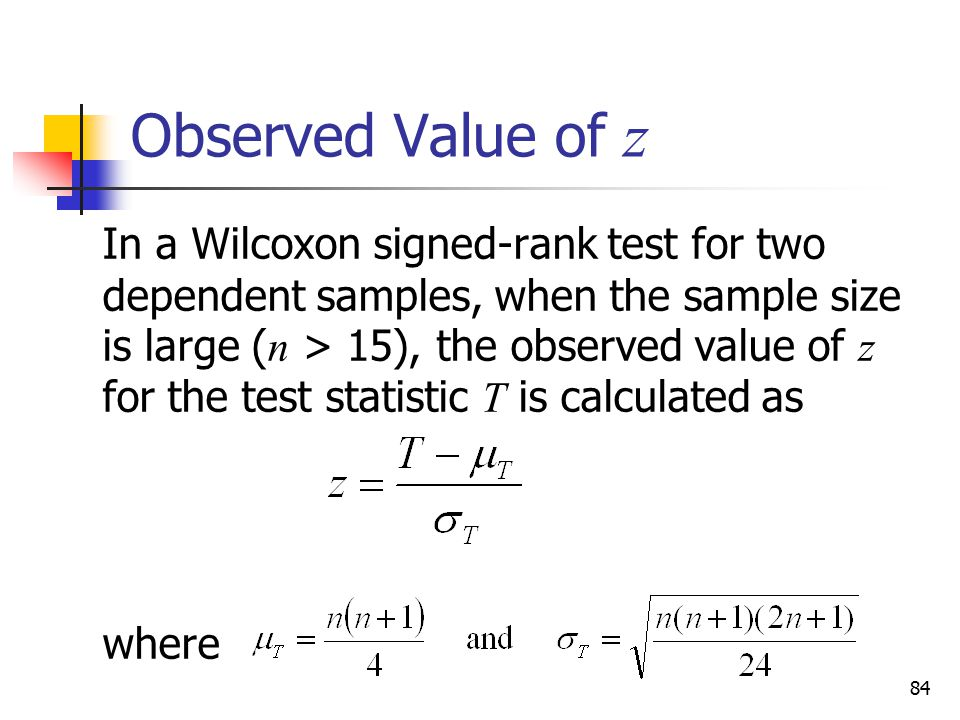 Observed Value of z