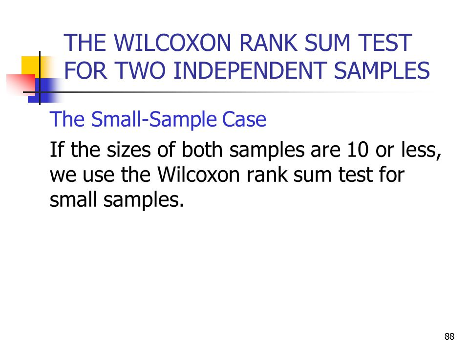 THE WILCOXON RANK SUM TEST FOR TWO INDEPENDENT SAMPLES