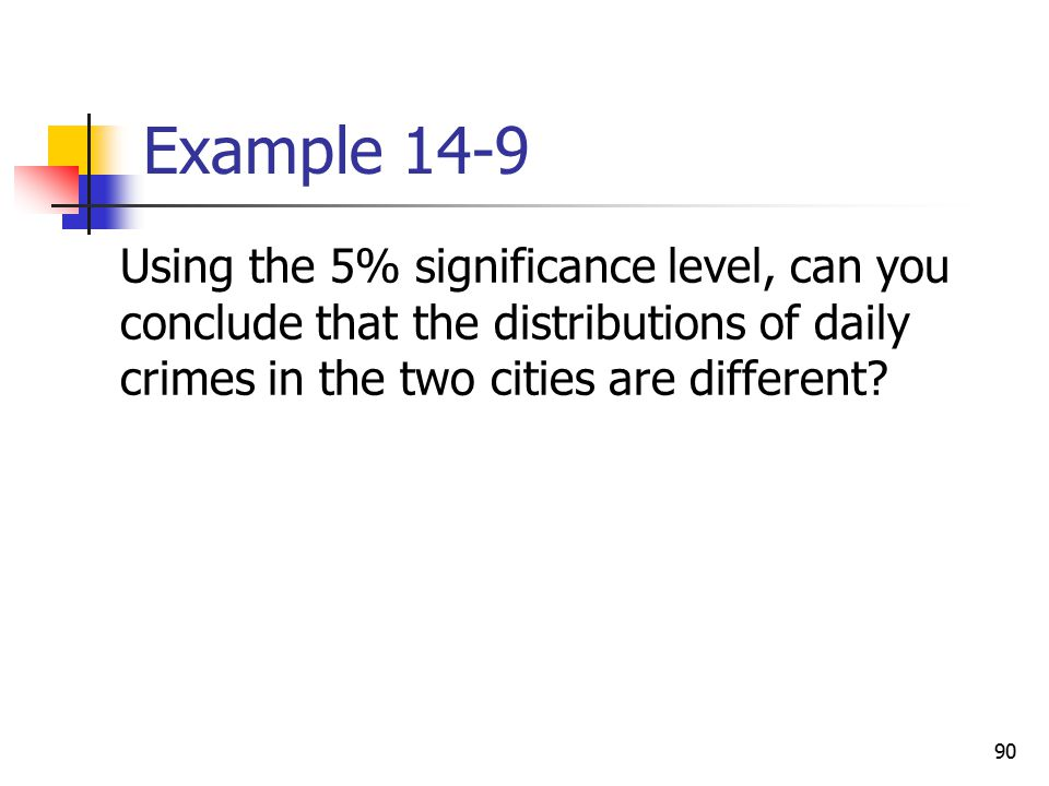 Example 14-9 Using the 5% significance level, can you conclude that the distributions of daily crimes in the two cities are different