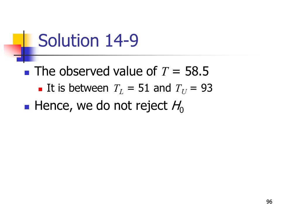Solution 14-9 The observed value of T = 58.5