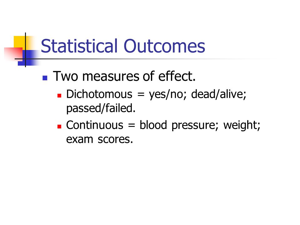 Statistical Outcomes Two measures of effect.