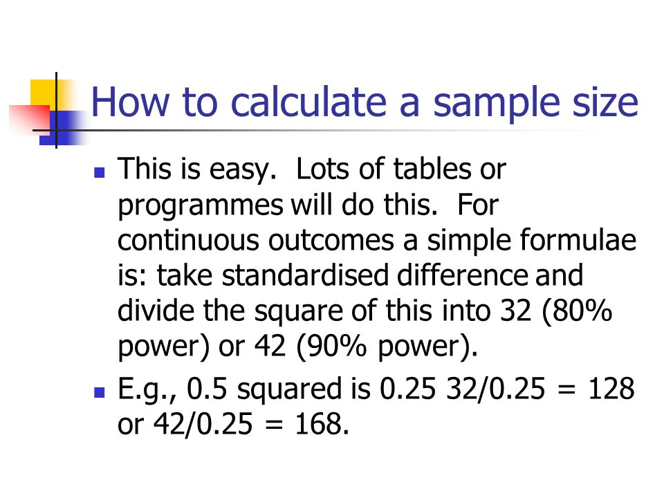 How to calculate a sample size