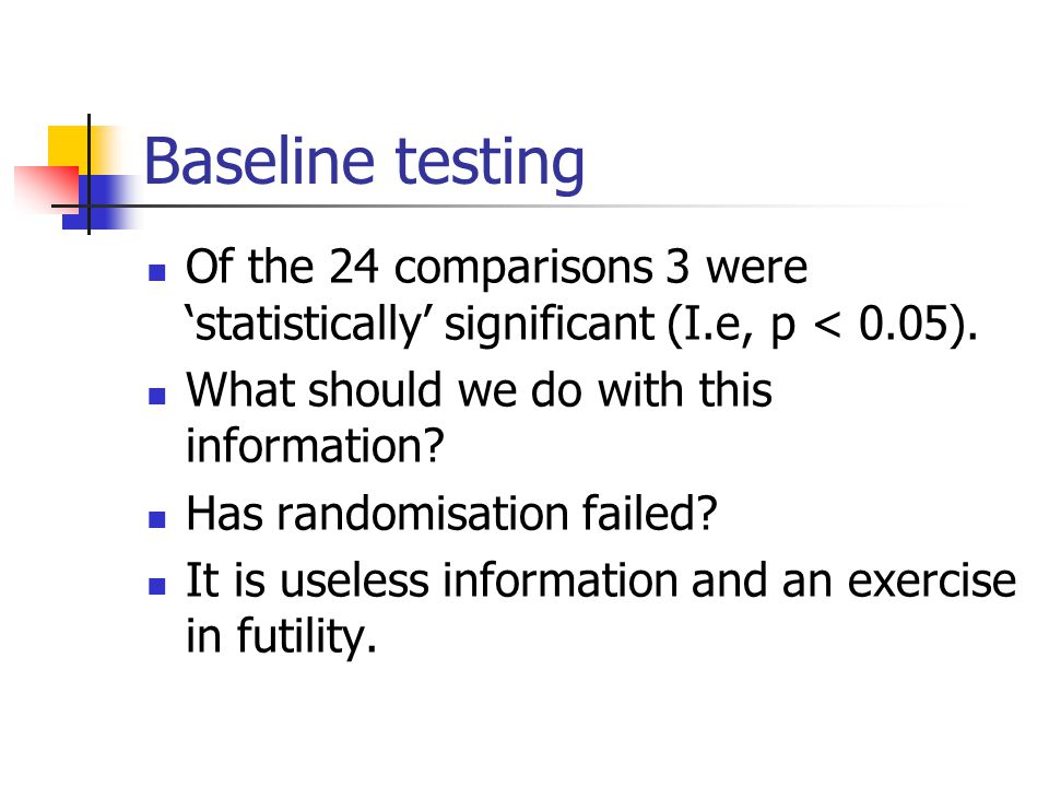 Baseline testing Of the 24 comparisons 3 were 'statistically' significant (I.e, p < 0.05). What should we do with this information