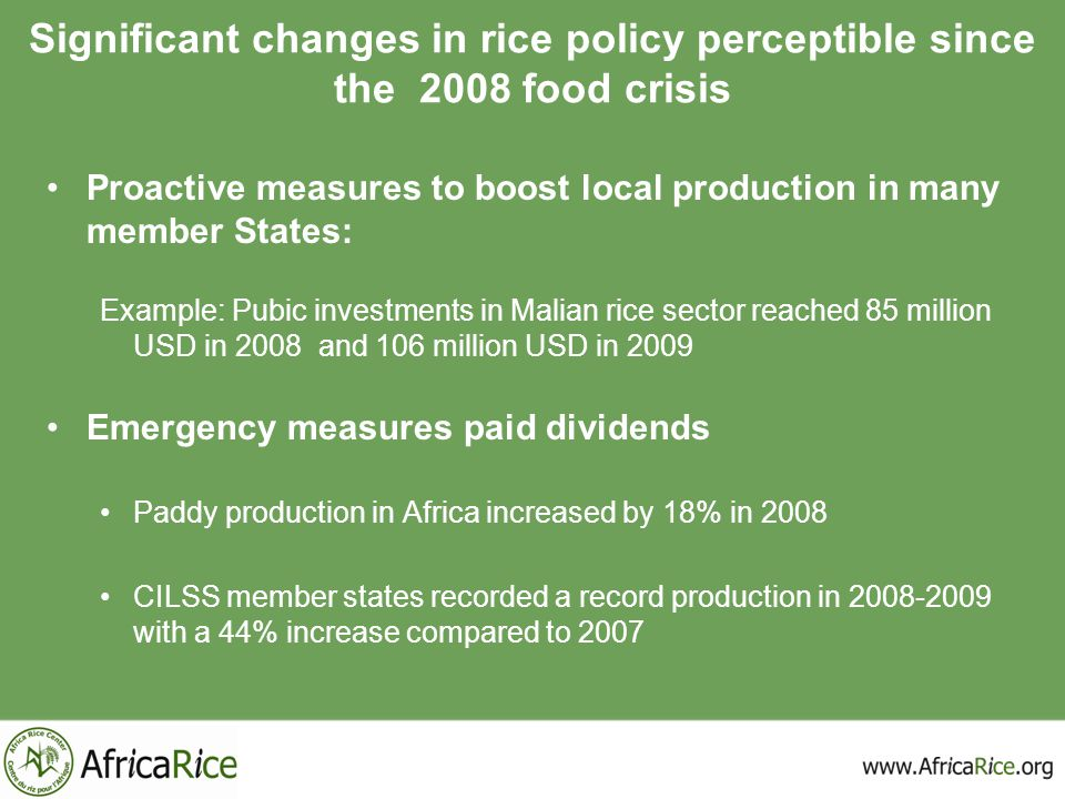 Significant changes in rice policy perceptible since the 2008 food crisis