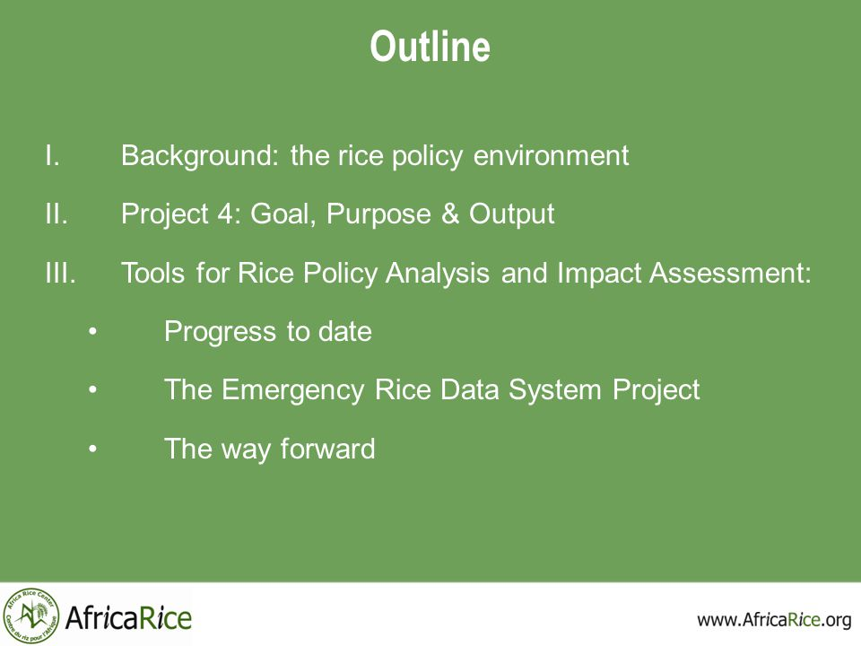 Outline Background: the rice policy environment