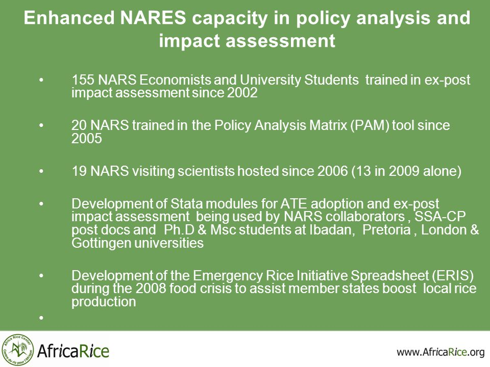 Enhanced NARES capacity in policy analysis and impact assessment