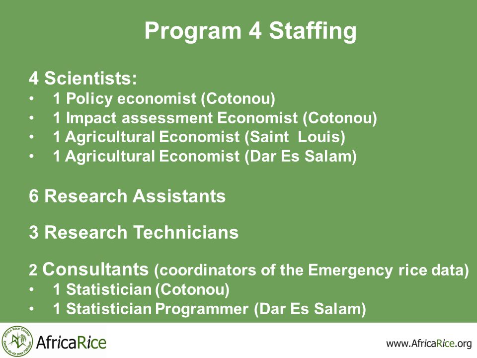 Program 4 Staffing 4 Scientists: 6 Research Assistants