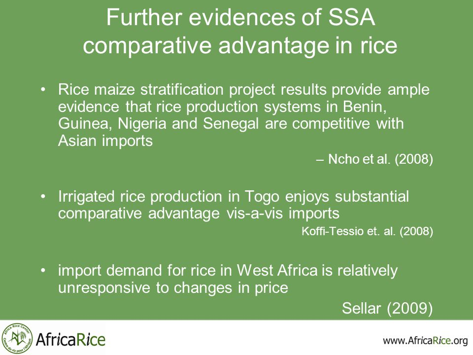 Further evidences of SSA comparative advantage in rice