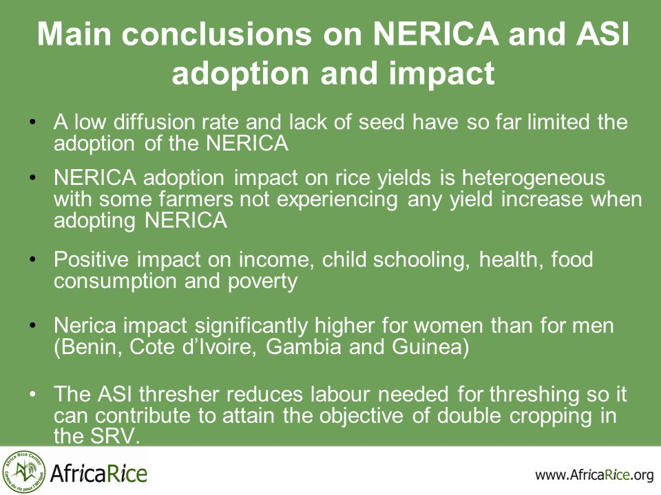 Main conclusions on NERICA and ASI adoption and impact