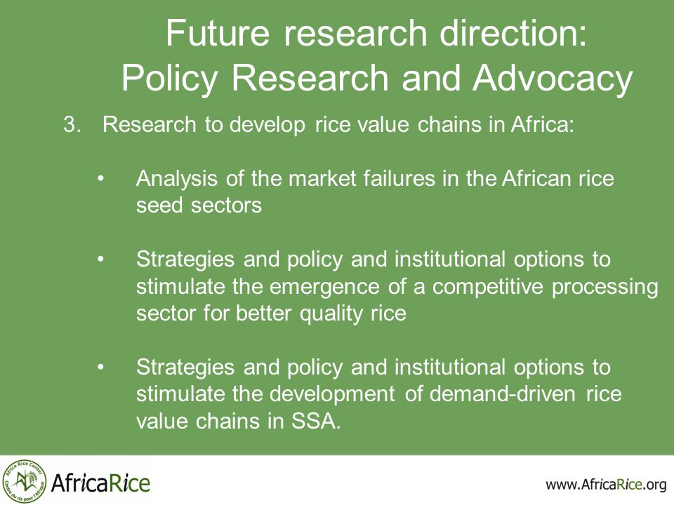 Future research direction: Policy Research and Advocacy