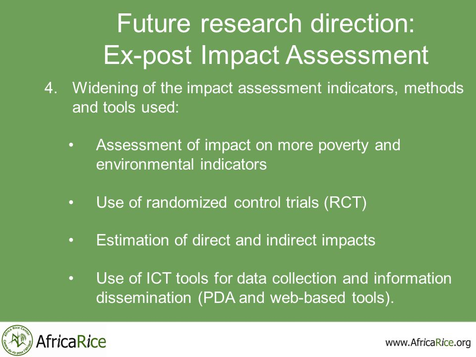 Future research direction: Ex-post Impact Assessment