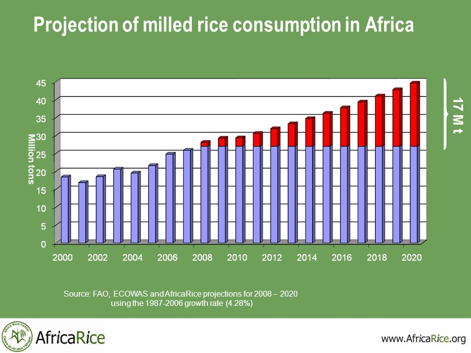 Projection of milled rice consumption in Africa
