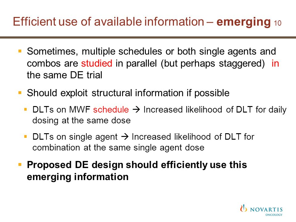 Efficient use of available information – emerging 10